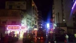 حريق في بناية مطعم بربر في شارع الحمراء